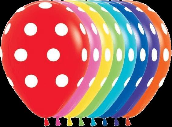 Gekleurde ballonnen met witte stippen Polka Dots (25 stuks)